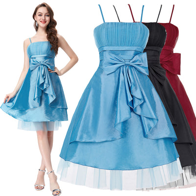 GK Spaghetti Straps Bow-Knot Decorated Ball Evening Prom Party Dress 8 Size