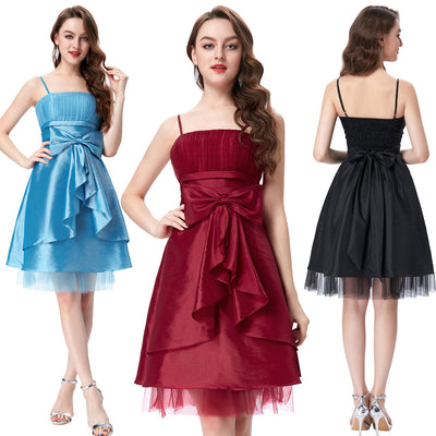 Spaghetti Straps Bow-Knot Decorated Knee-Length Evening Prom Dress