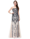 Beige Long Strapless Sweetheart Tulle Netting Formal Evening Dress