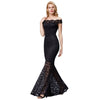 Grace Karin Women's Black Sexy Cap Sleeve Waved-Neck Off the Shoulder Mermaid Lace Ball Gown Evening Prom Party Dress