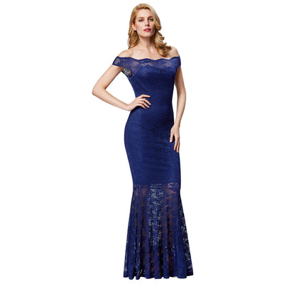 Grace Karin Women's Navy Blue Sexy Cap Sleeve Waved-Neck Off the Shoulder Mermaid Lace Ball Gown Evening Prom Party Dress