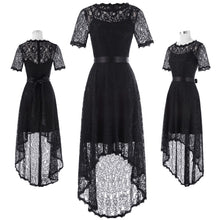 Load image into Gallery viewer, Black Lace Evening Prom Dress - Short Sleeve, Round Neck, High-Low