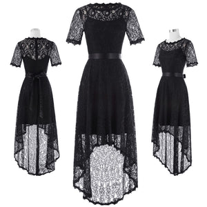 Black Lace Evening Prom Dress - Short Sleeve, Round Neck, High-Low