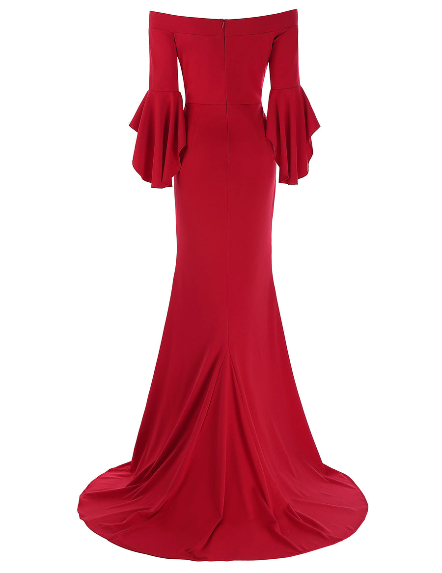 Grace Karin Women's Red Floor Length Three Quarter Ruffle Sleeve Boat-Neck High Split Evening Prom Party Dress