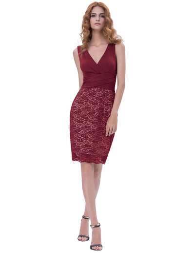 Wine Red and Dark Green Sleeveless U-Back Bodycon Pencil Dress