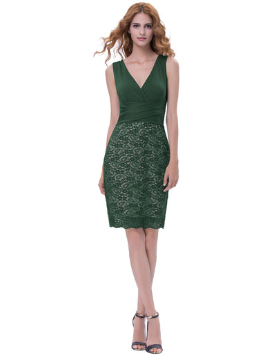 Grace Karin Women's Sexy Dark Green Sleeveless V-Neck U-Back Hips-Wrapped Bodycon Pencil Dres