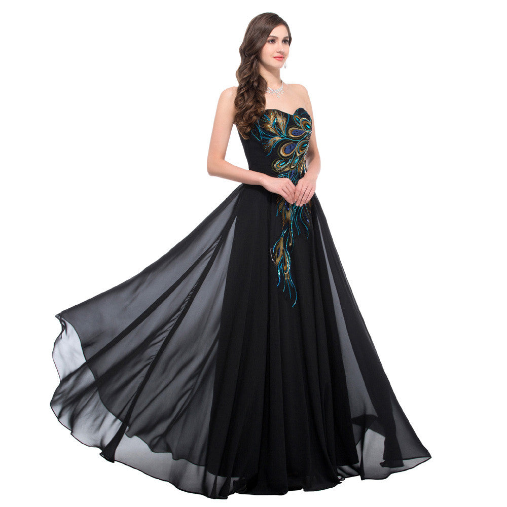 Grace Karin A Line Princess Floor Length Strapless Sweetheart Peacock Feathers Evening Prom Party Dress_Black
