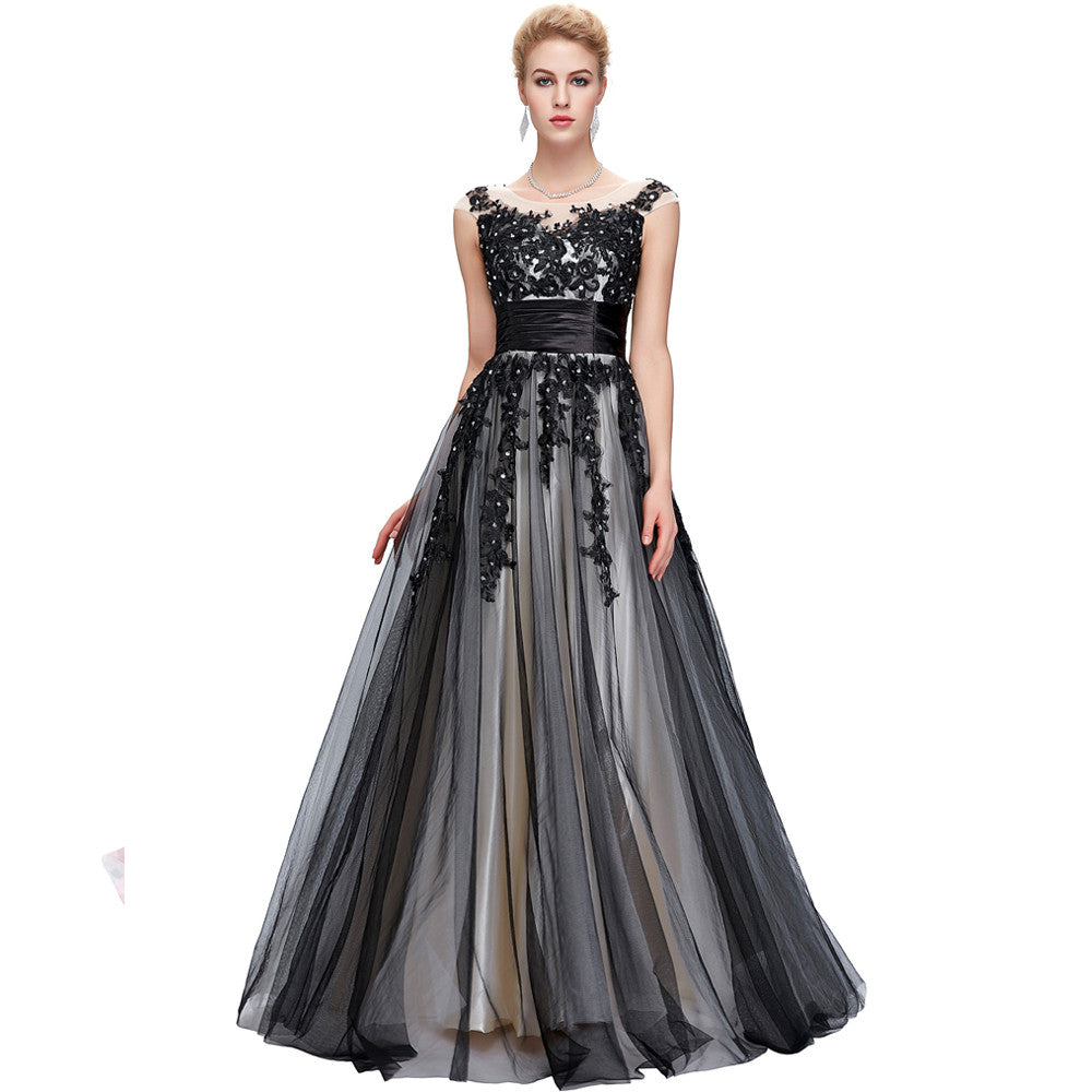 Grace Karin Full-Length Sleeveless Crew Neck V-Back Soft Tulle Vintage Evening Prom Party Dress With Beading / Appliques
