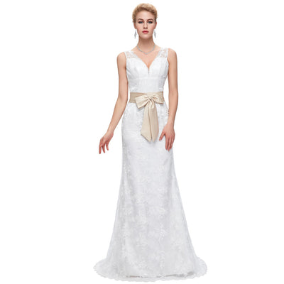 Grace Karin Sleeveless V-Neck Lace Mermaid Wedding Party Evening Dress_Ivory
