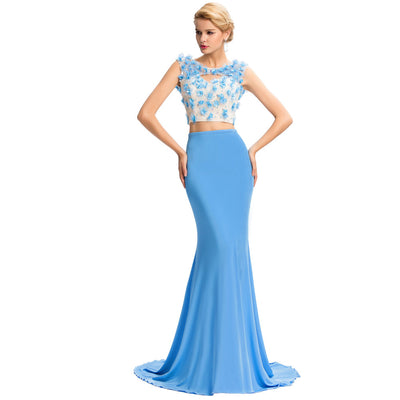 Grace Karin Two-Piece Set Sleeveless Hollowed Front Mermaid Prom Dress _Blue