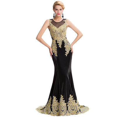 Grace Karin Women's Black Sleeveless Elegant Golden Appliqued Ball Gown Evening Dress