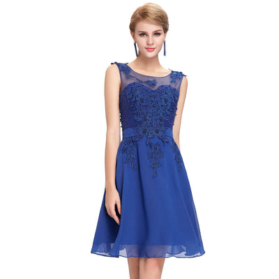 Grace Karin Women's Sleeveless Crew Neck V-Back Above-Knee Chiffon Bridesmaid Ball Evening Prom Party Dress _Blue