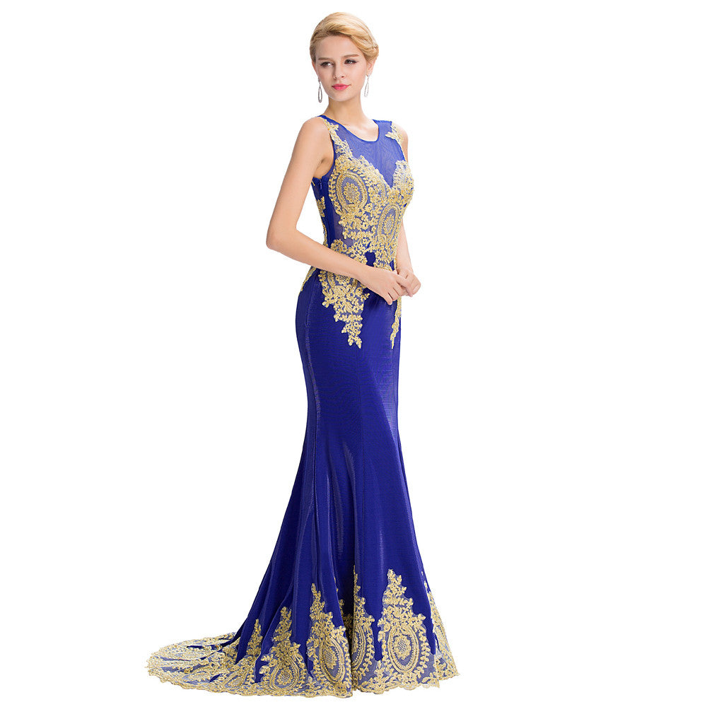 Grace Karin Women's Royal Blue Sleeveless Elegant Golden Appliqued Ball Gown Evening Dress