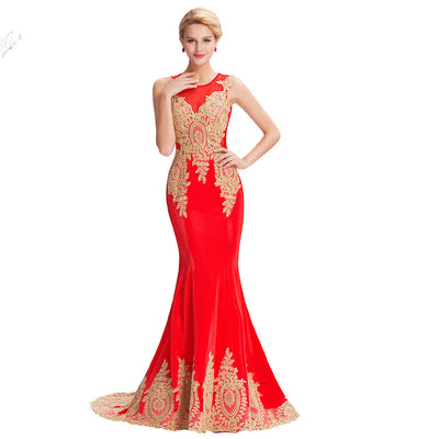 Grace Karin Women's Red Sleeveless Elegant Golden Appliqued Ball Gown Evening Dress