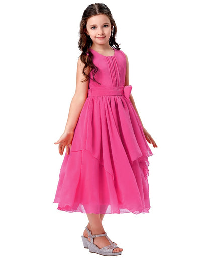 Ankle-Length Round Neck Sleeveless Chiffon Flower Girl Dress