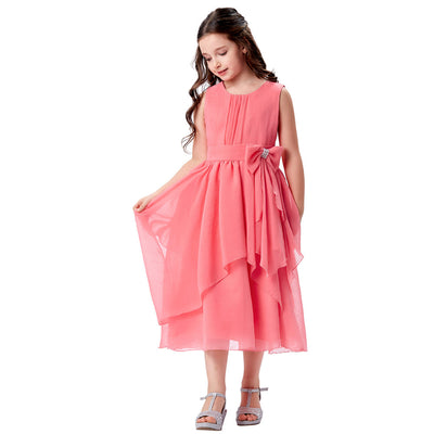 Grace Karin Ankle-Length Round Neck Sleeveless Chiffon Flower Girl Dress With Bow-Knot _Watermelon Red