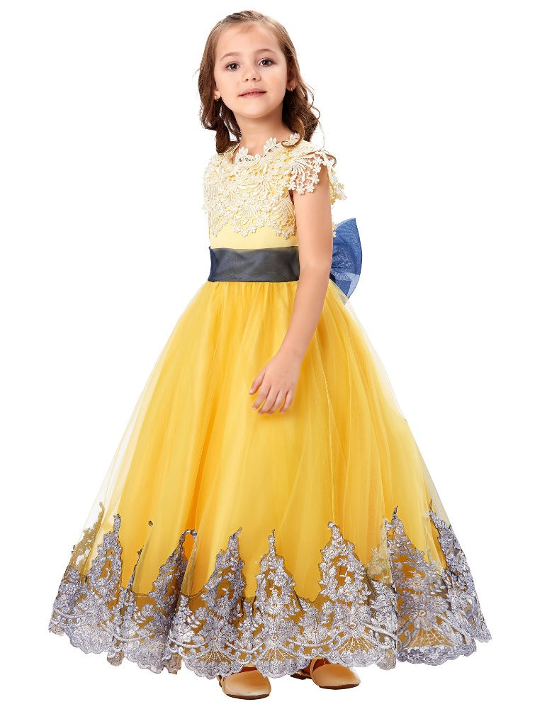 Grace Karin A Line Sleeveless Floor Length Princess Flower Girl Dress With Applique