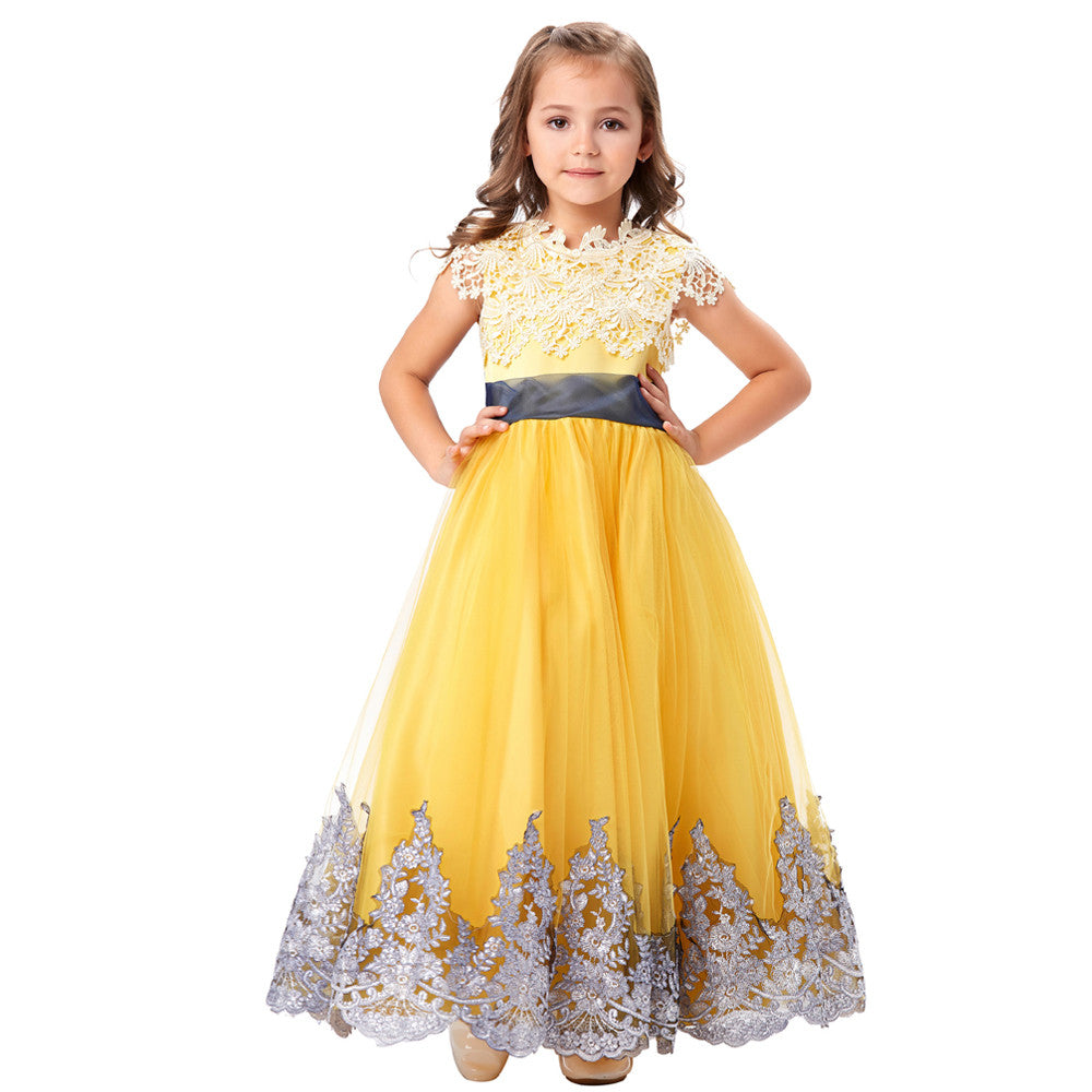 Grace Karin Five Layers Tulle Netting Appliqued Flower Girls Dress