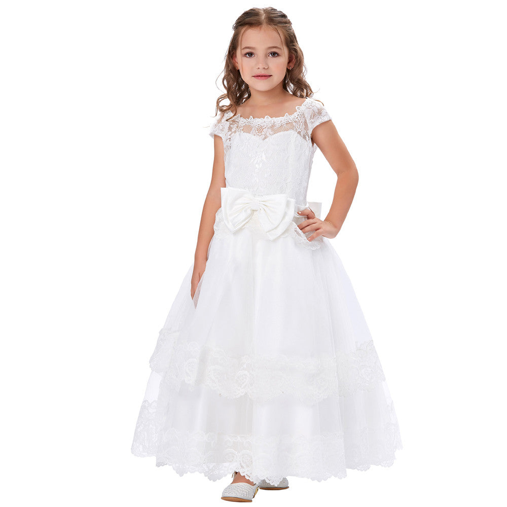 Grace Karin White Soft Tulle Netting Cap Sleeve Floor Length Lace Up Princess Flower Girl Dress With Fixed Bow Knot