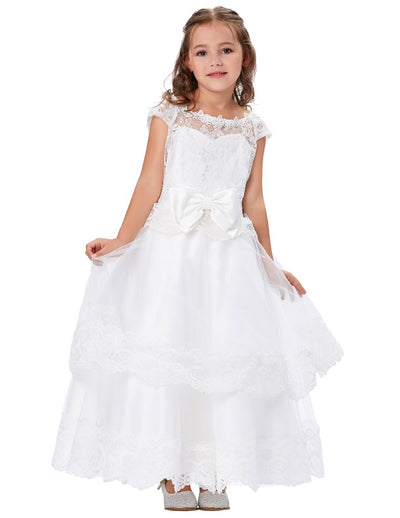White Multi Layers Tulle Netting Cap Sleeve Princess Flower Girl's Dress