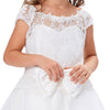 Weißes Multi-Layer-Kleid aus Tüll-Netting-Kappenärmel Princess Flower Girl