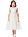 Grace Karin Tea Length A Line Sleeveless Round Neck Flower Girl Dress With Appliques / Faux Pearls_Purple_Beige