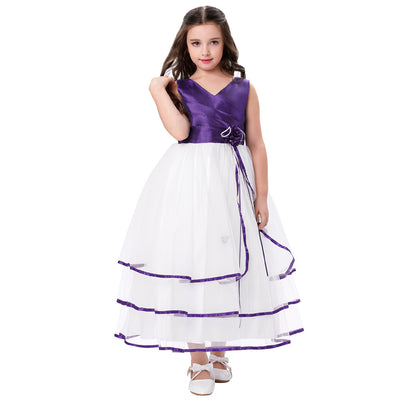 Grace Karin A Line Princess Floor Length V-Neck Sleeveless Pleated Bodice Tulle Flower Girl Dress With Flower_Purple