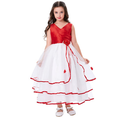 Grace Karin A Line Princess Floor Length V-Neck Sleeveless Pleated Bodice Tulle Flower Girl Dress With Flower_Red