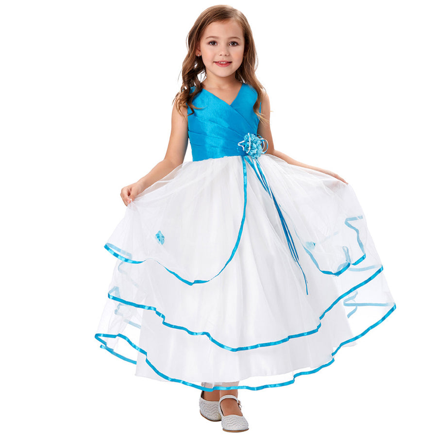 Grace Karin A Line Princess Floor Length V-Neck Sleeveless Pleated Bodice Tulle Flower Girl Dress With Flower_Royal Blue