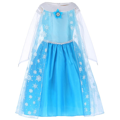 Blue Princess Long See-through Sleeve Lace Flower Girl Dress_Blue