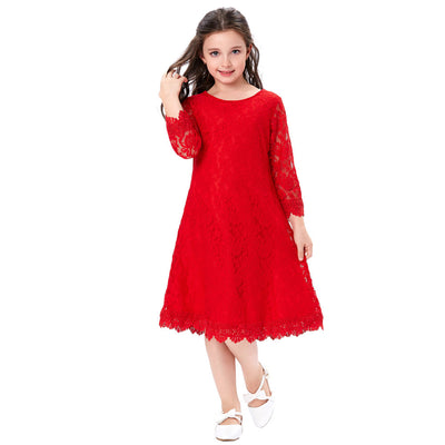 Grace Karin Children 3/4 Sleeve Round Neck Lace Flower Dress for Girls _Red