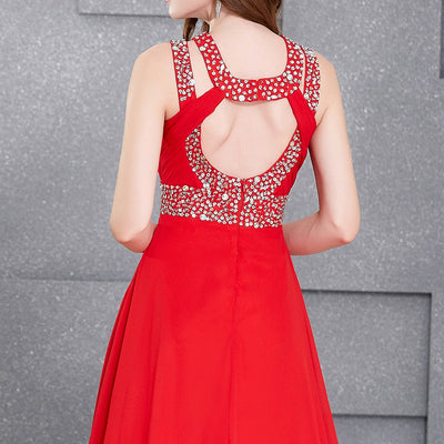 Red Chiffon Backless High Split Ruched Bodice Evening Prom Dress