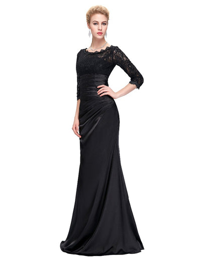3/4 Sleeve Off the Shoulder Mermaid Cocktail Evening Prom Dress