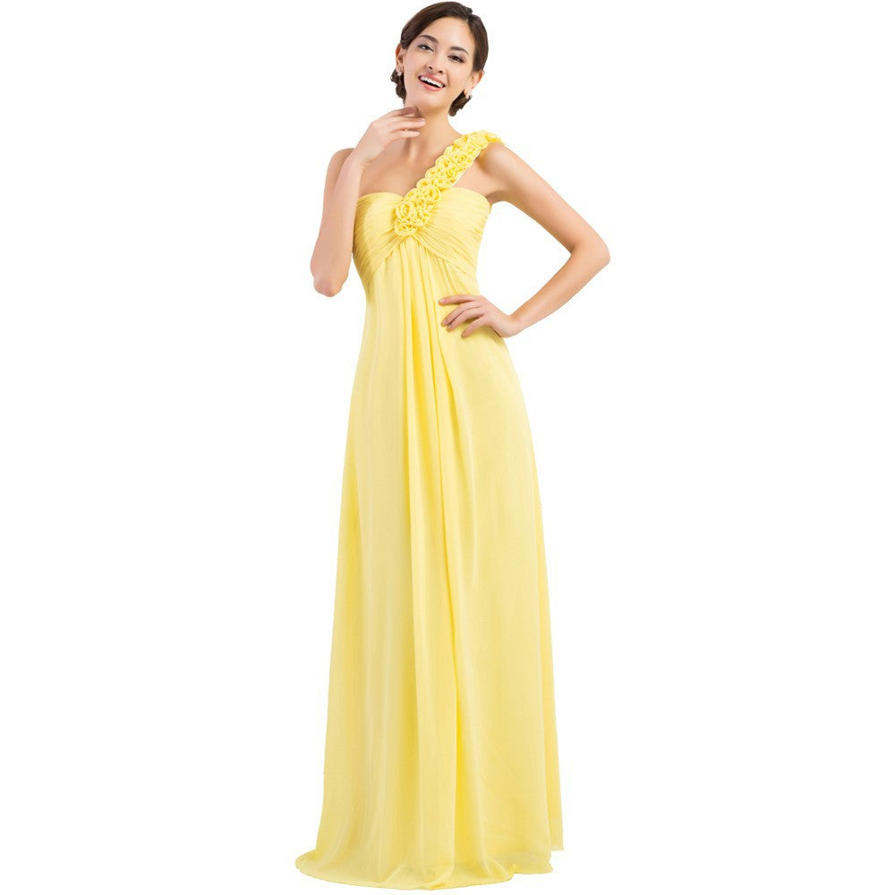 a5b97ad99e Grace Karin Elegant Yellow One Shoulder Sweetheart Flower Desig Full-Length Chiffon  Bridesmaid Dress