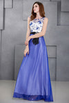 Blue Sleeveless Round Neck Long Evening Dress with Lace Appliques