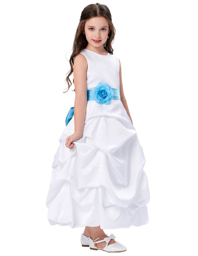 Grace Karin Ball Gown Tea Length Round Neck Flower Girl Dress online _Watermelon Red
