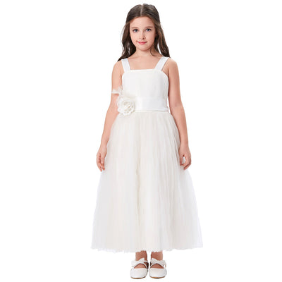 Grace Karin Straight Neck Princess Lace Soft Tulle Netting Flower Girl Dress With Flower_White