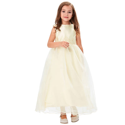 Beautiful Voile and Stain Sleeveless Appliqued Full-Length Flower Girl's Dress