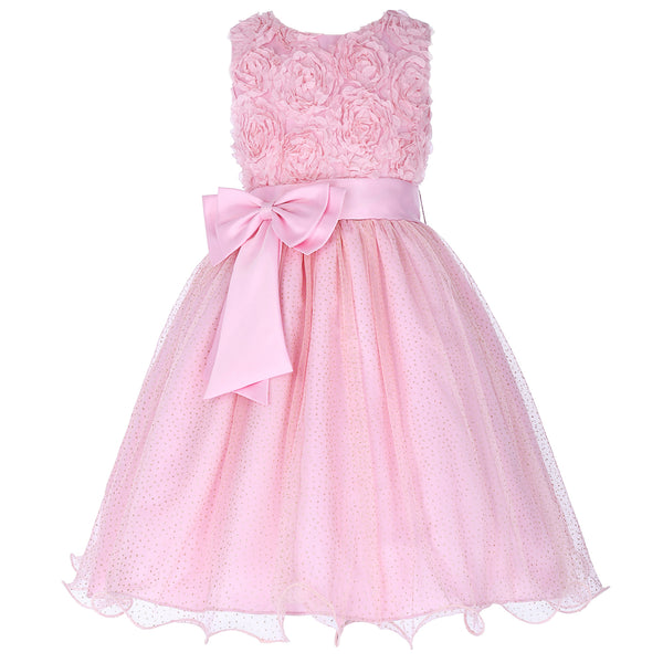 Grace Karin Round Neck Sleeveless Tulle Flower Girl Dress With Belt / Flowers_Pink