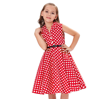 Grace Karin A Line Tea Length V-Neck Sleeveless Lapel Collar Children Vintage Dress With 3 Buttons_Red