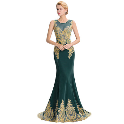 Grace Karin Women's Dark Green Sleeveless Elegant Golden Appliqued Ball Gown Evening Dress