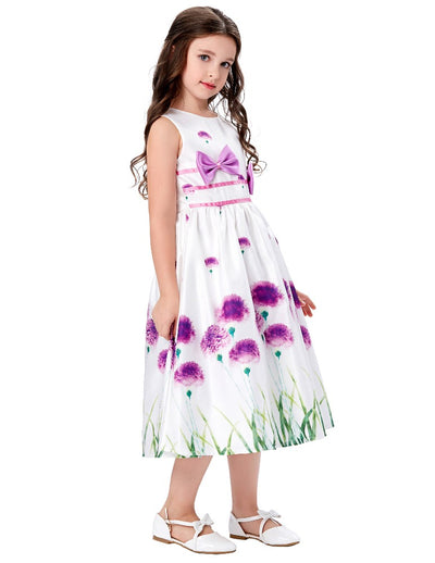Grace Karin Purple A Line Ankle-Length Sleeveless Round Neck Flower Girl Dress With Bow-Knot Decorated