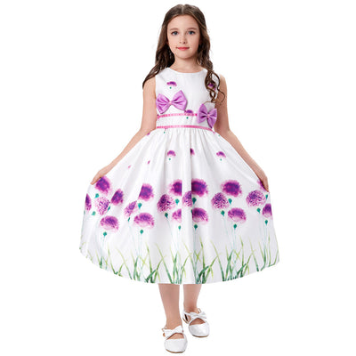Lovely Sleeveless Round Neck Bow-Knot Decorated Flower Girl Dress