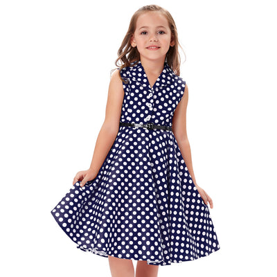 Grace Karin A Line Tea Length V-Neck Sleeveless Lapel Collar Children Vintage Dress With 3 Buttons_Navy Blue