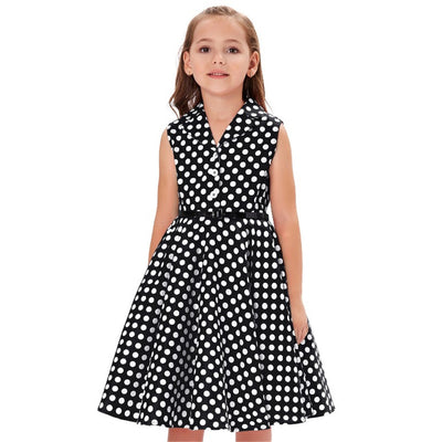 Grace Karin A Line Tea Length V-Neck Sleeveless Lapel Collar Children Vintage Dress With 3 Buttons_Black