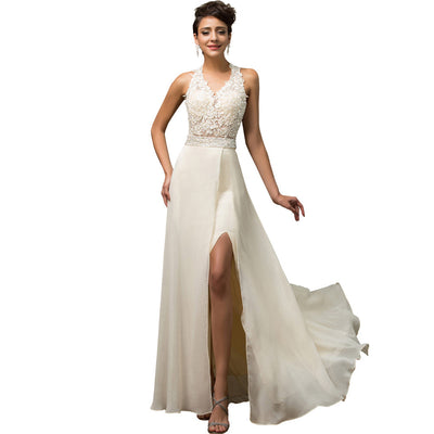 Grace Karin Beige Floor-Length Sleeveless Deep V-Neck Open Back Lace Top Ball Gown Chiffon Evening Prom Dress