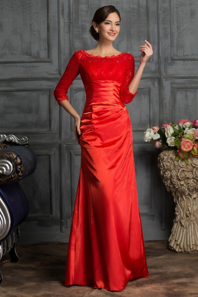 Grace Karin 3/4 Sleeve Off-Shoulder Mermaid Cocktail Party Evening Prom Dress_Red
