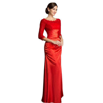 Grace Karin 3 / 4 Ärmel Schulterfrei Meerjungfrau Cocktailparty Abend Prom Dress_Red