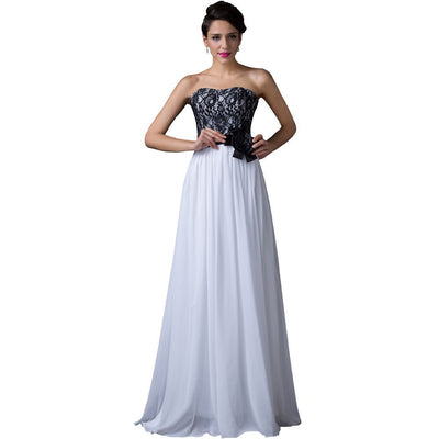 Grace Karin Lace Top Strapless A-Line Princess Maxi Dress For Evening Party_White