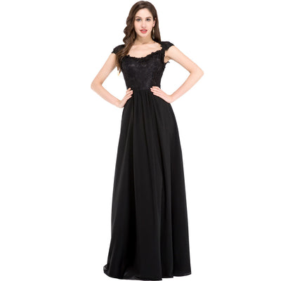 Grace Karin Cap Sleeve A-Line Princess Lace Top Celebrity Evening Prom Dress_Black